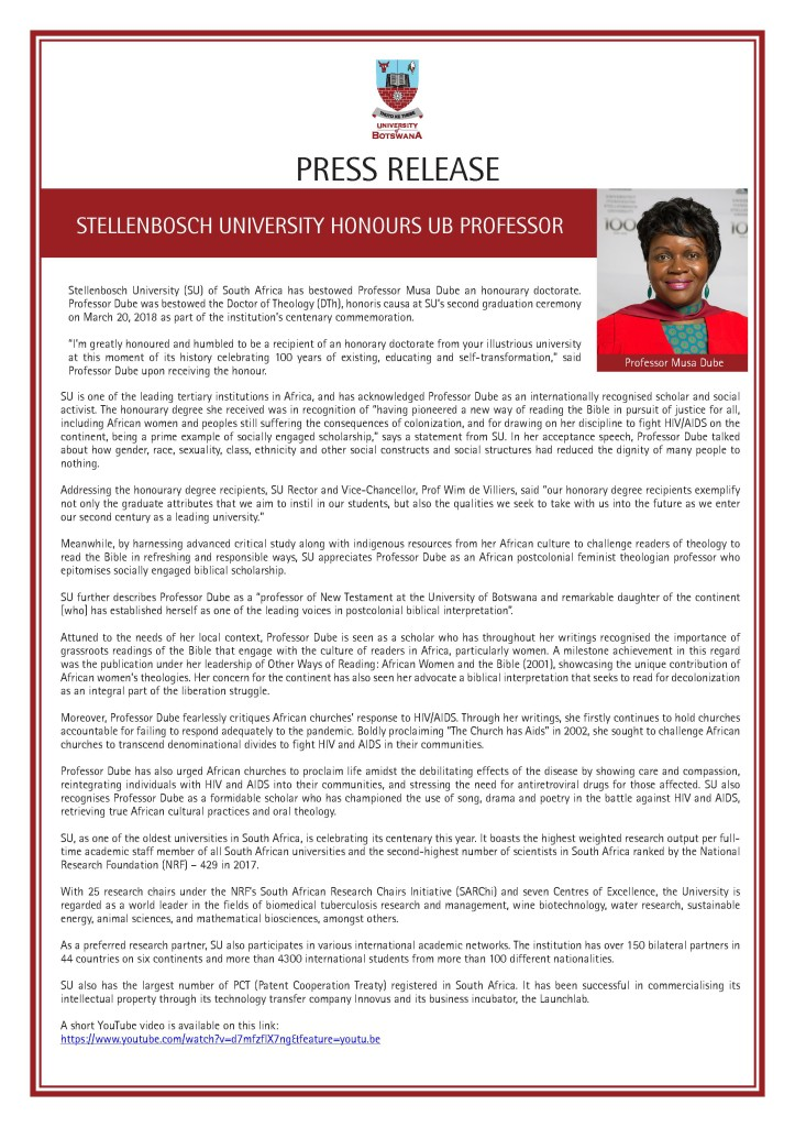 HONORARY DOCTORATE DUBE PRESS RELEASE
